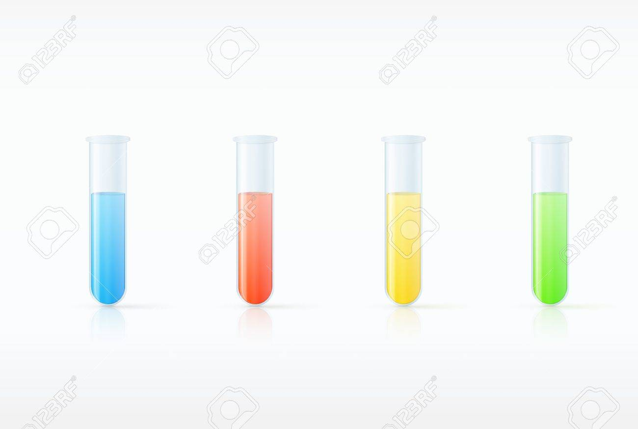 Different  laboratory glassware with color liquid and transparent glass illustration Stock Vector - 19392417