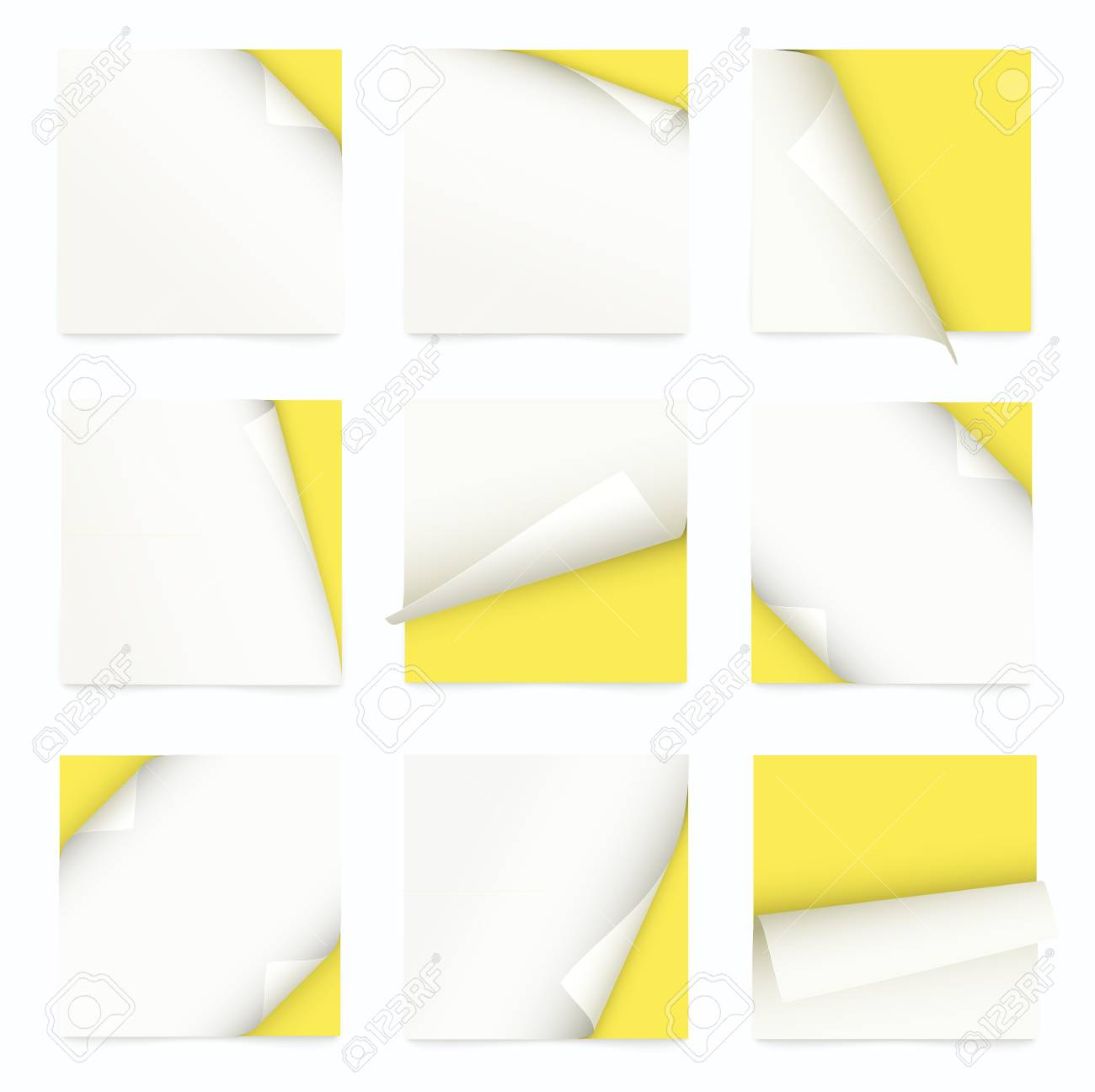 yellow set of note paper with curled corner Stock Vector - 19392541