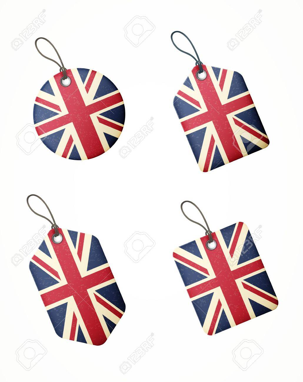 set of labels with united kingdom flag isolated Stock Vector - 19744489