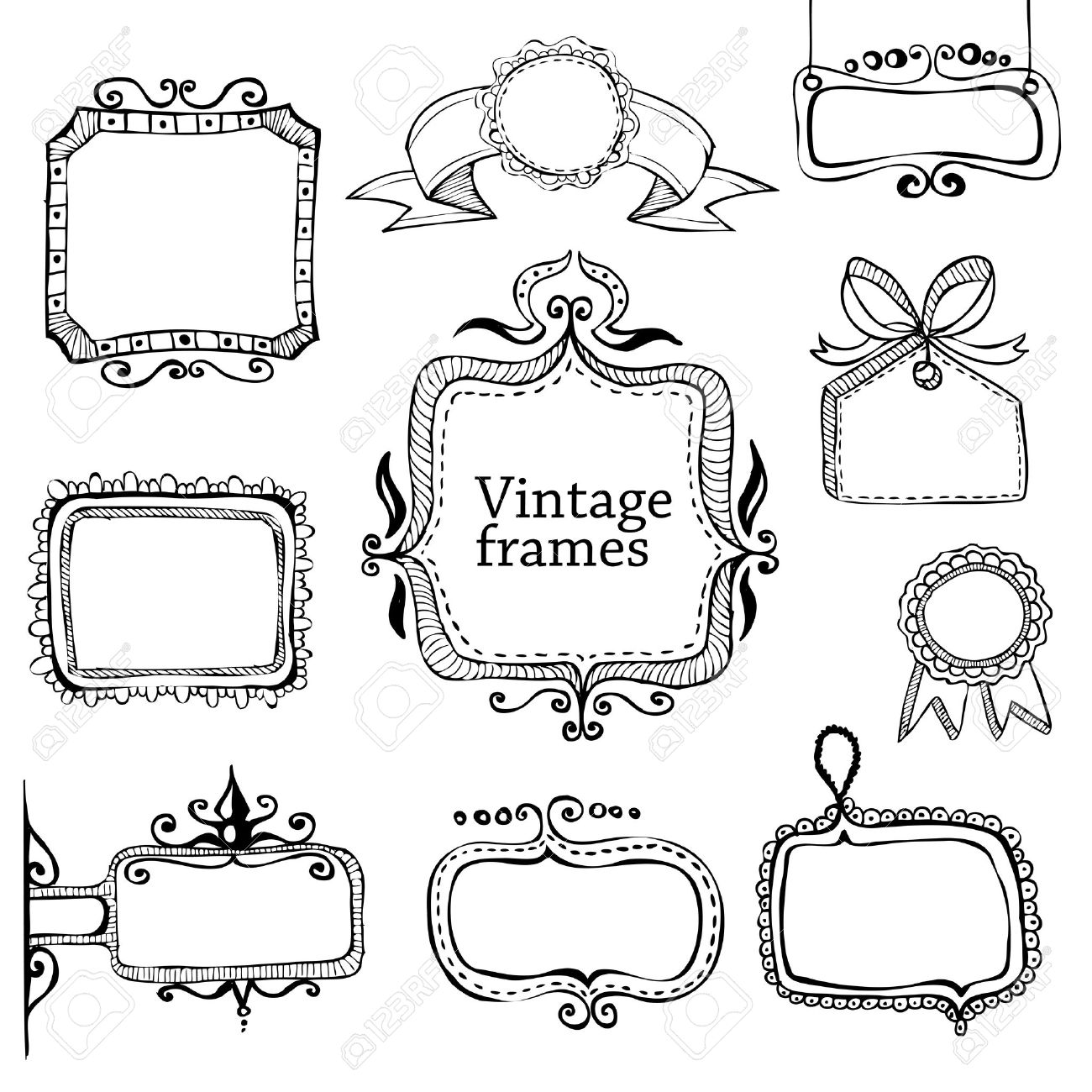 vintage hand drawn frames collection stock vector 19744277 - Drawing Frame