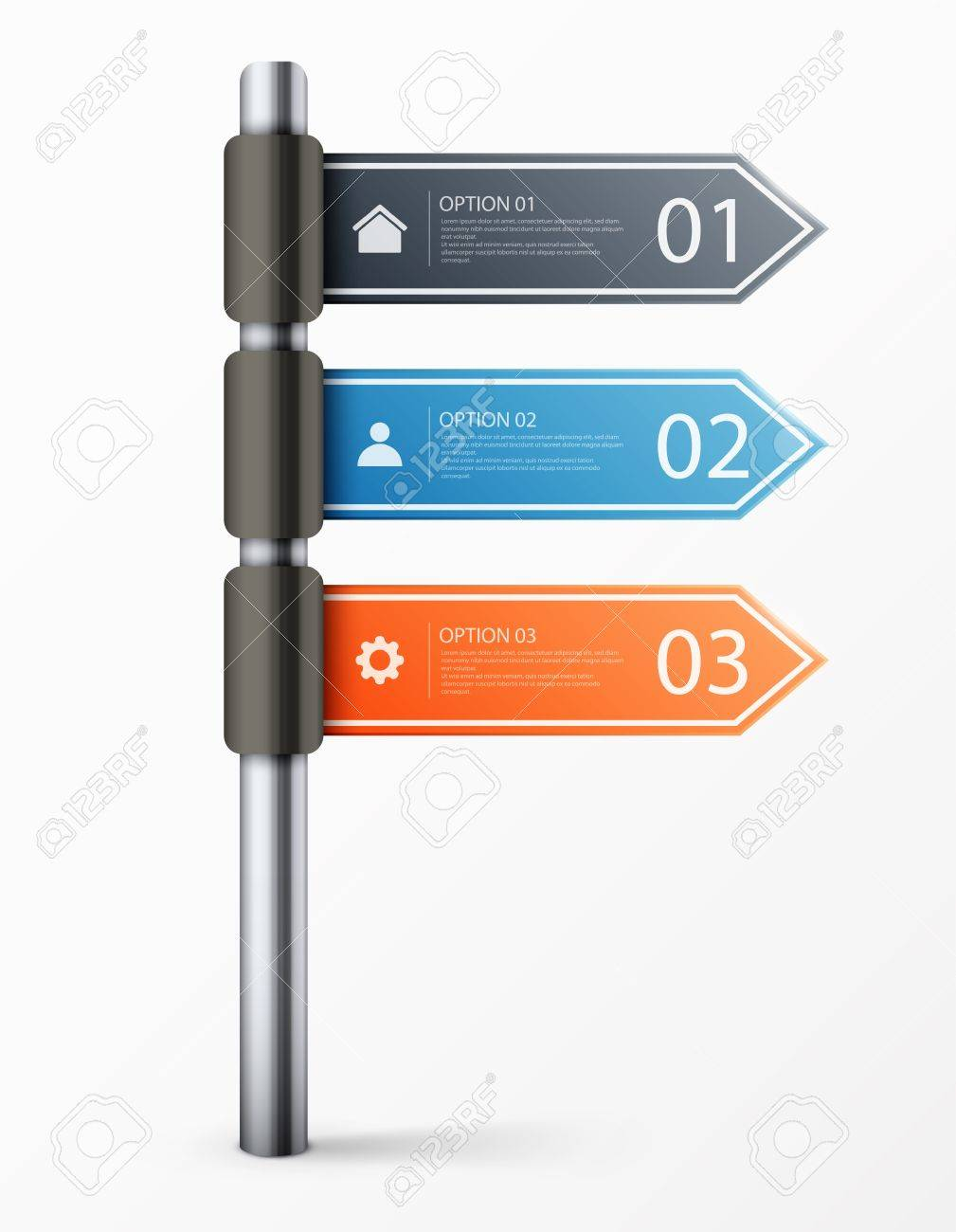 Modern road sign design template for infographics, sign banners, graphic or website layout. Stock Vector - 19744327
