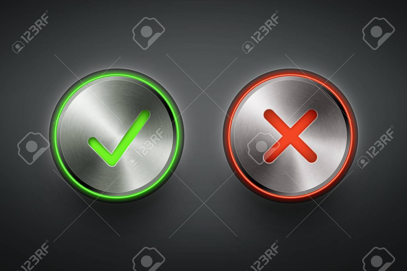 ok and cancel metal round buttons on black background eps10 vector illustration Stock Vector - 19977338
