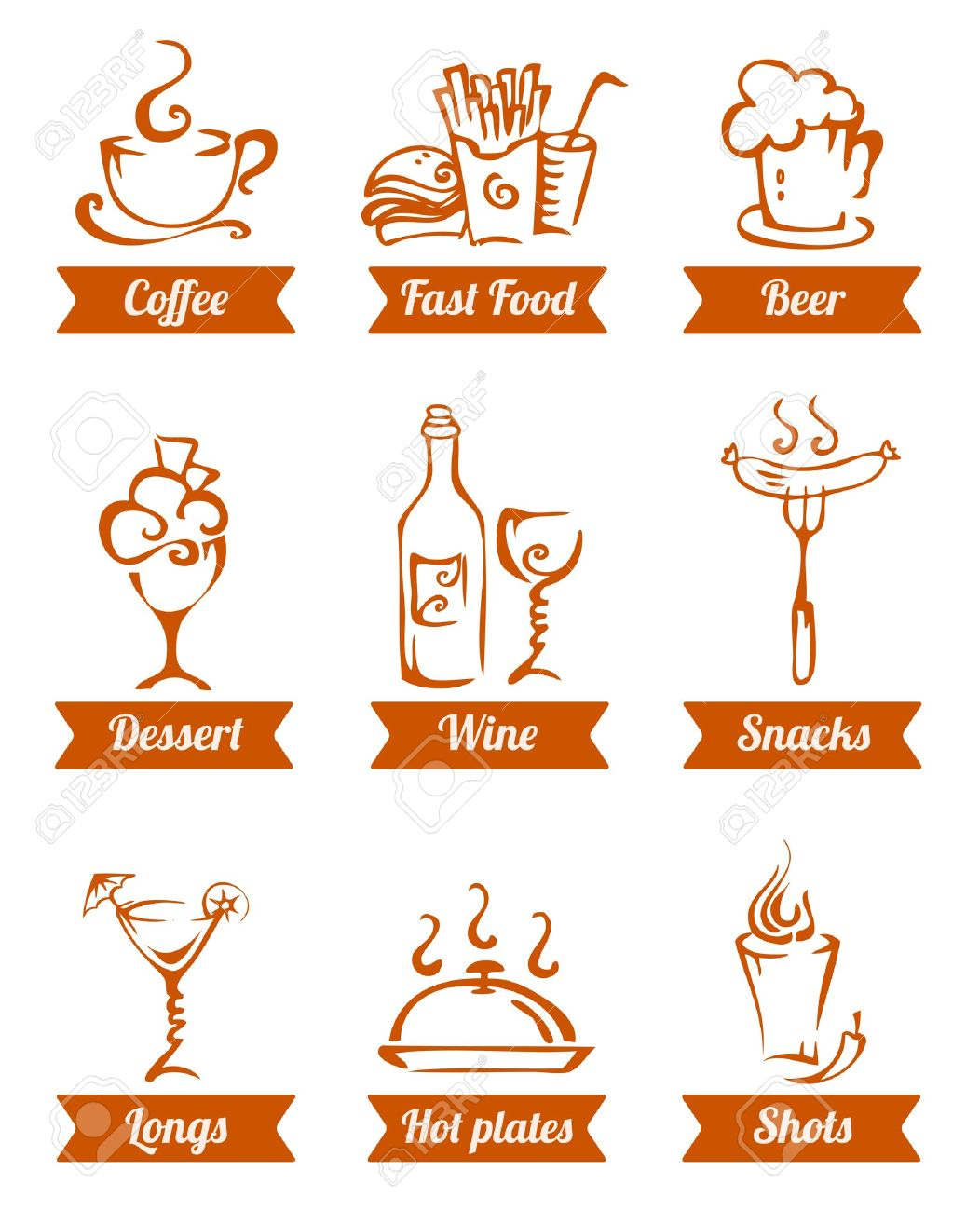 cafe menu food icons hand drawn eps8 Stock Vector - 20322973