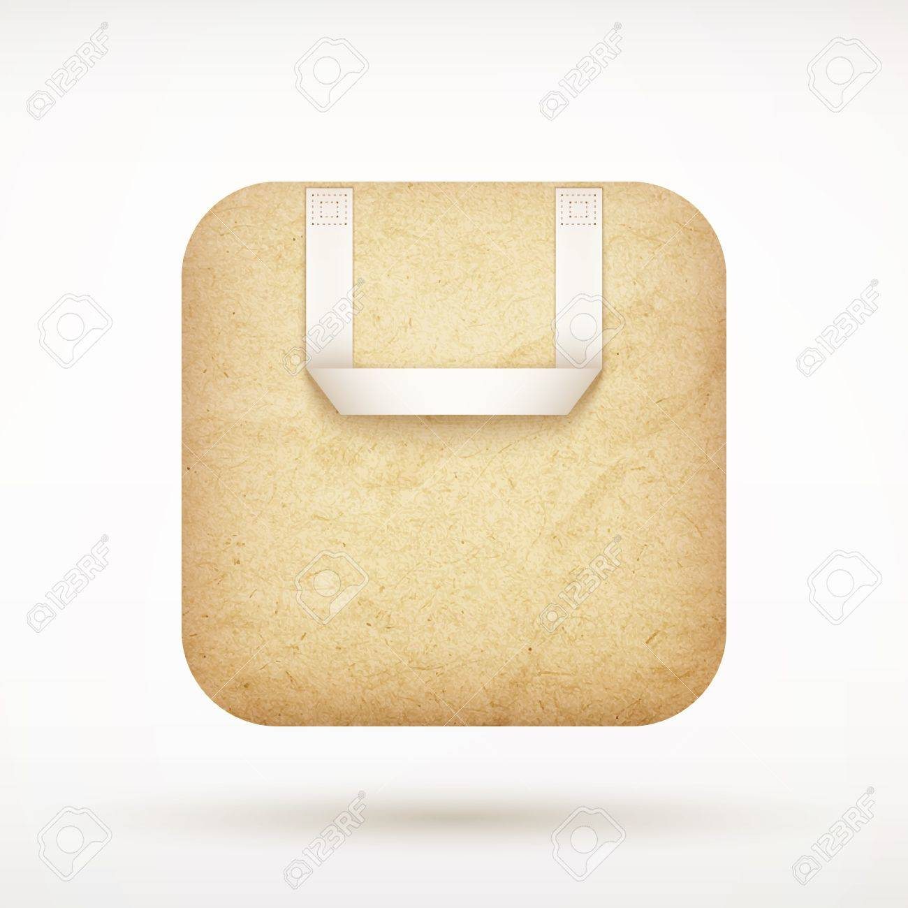Recycled Paper Shopping Bag App Icon On Rounded Corner Square ...