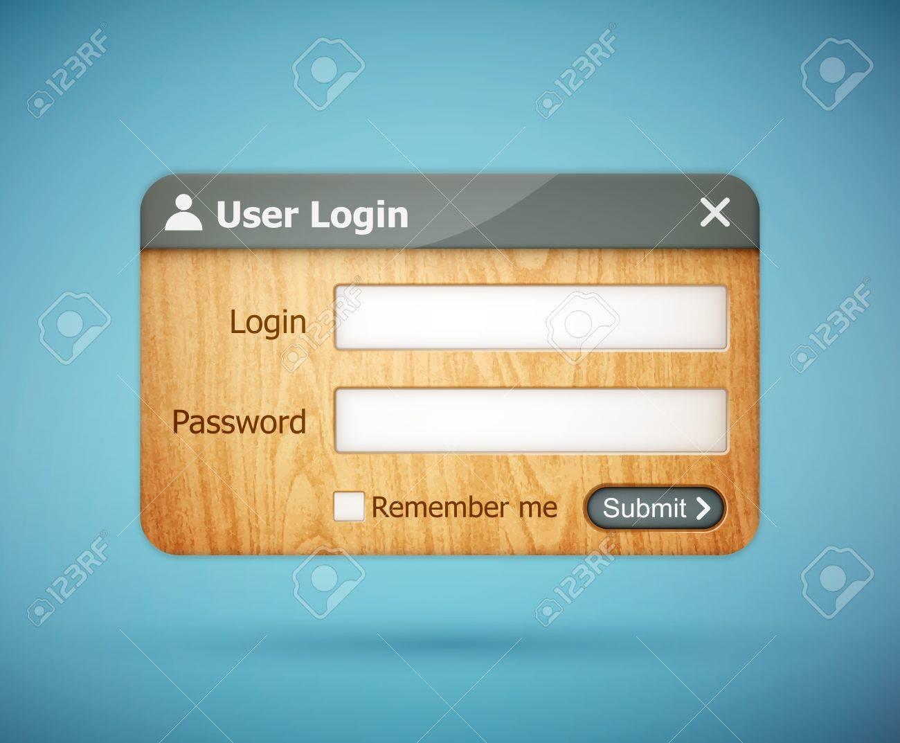 grey color wooden login form Stock Vector - 20856486