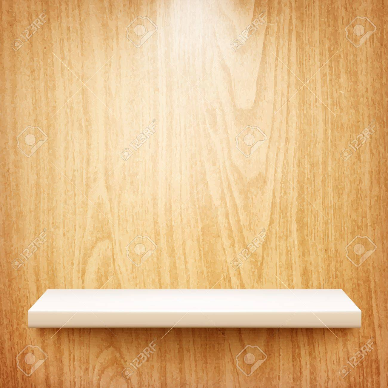 realistic white shelf on wooden wall Stock Vector - 20856564