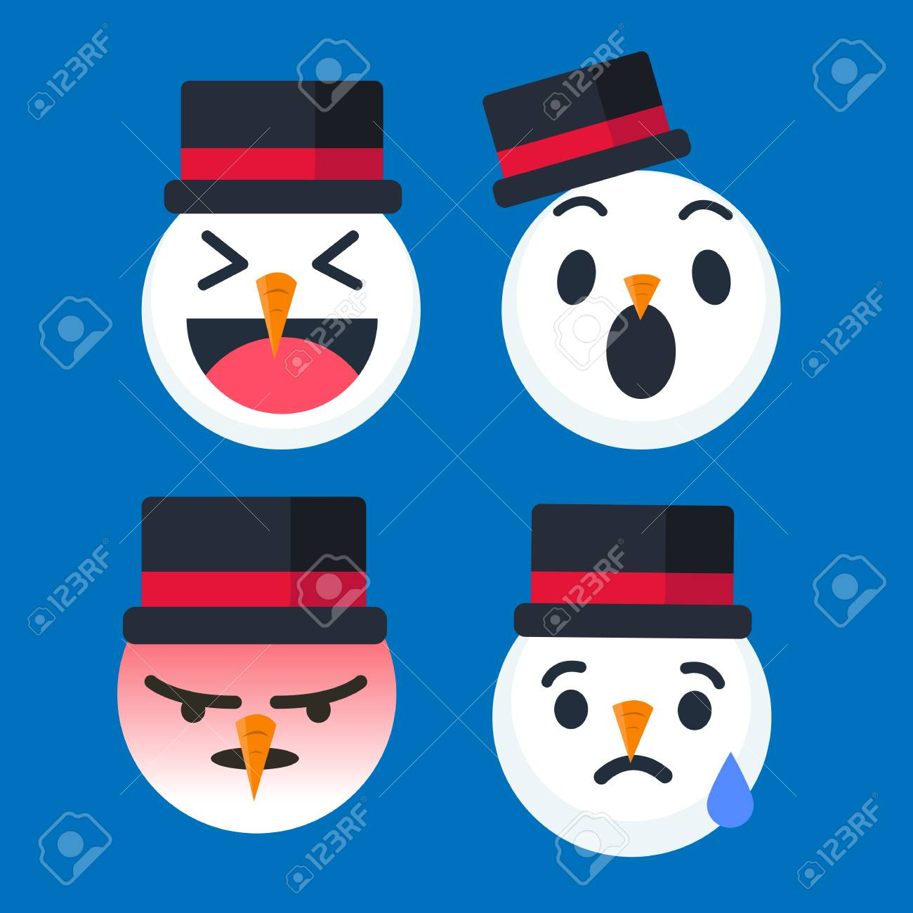 cute snowman emoticon set for christmas season happy wow angry