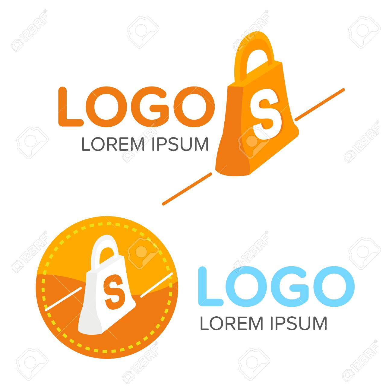 Business Icon Shopping Bag Logo Design Template Colorful With Line And Text Vector Illustrator