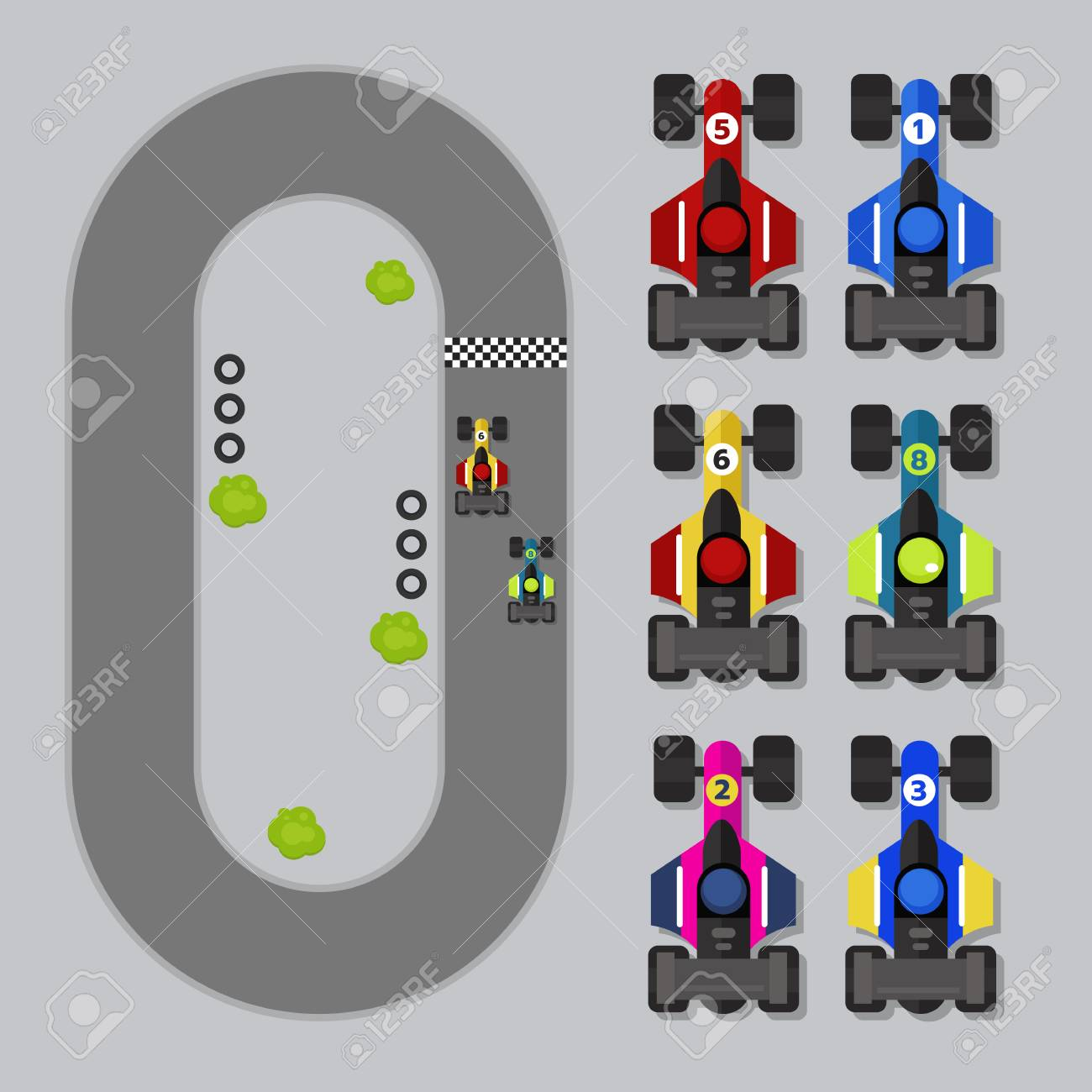 Top view 2D Game asset formula one, isolated and road, for traffic