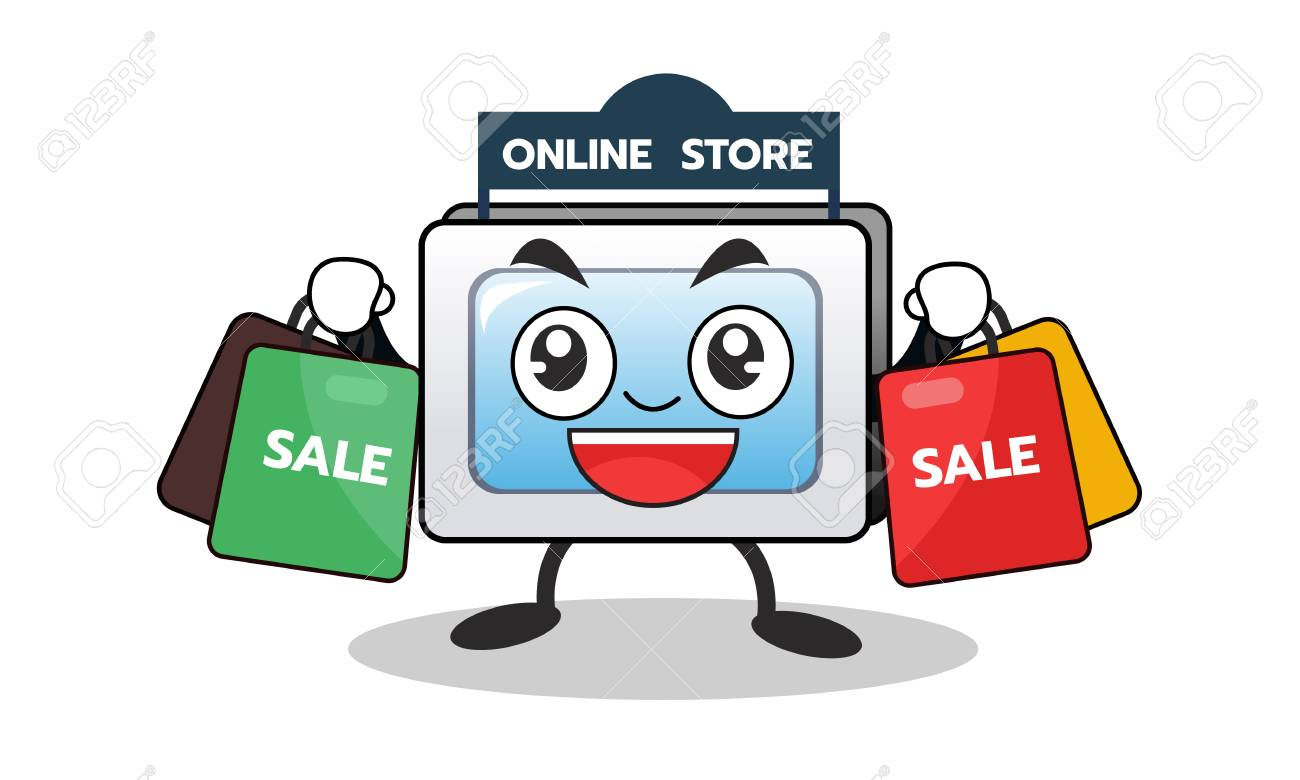 Cartoon Computer Mascot Of Online Shopping With Shopping Sale Royalty Free Cliparts Vectors And Stock Illustration Image 98352865