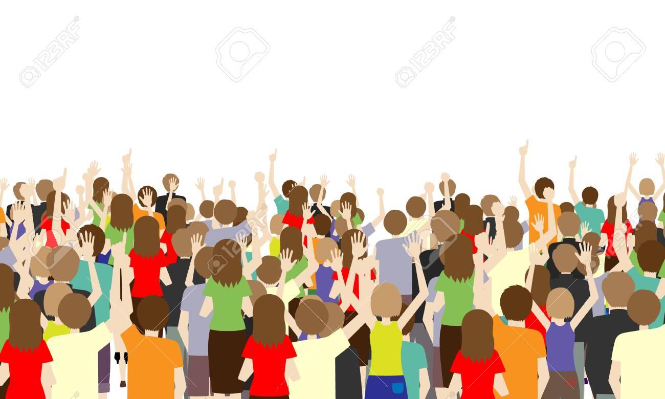 Illustration of the back of many spectators - 131357761