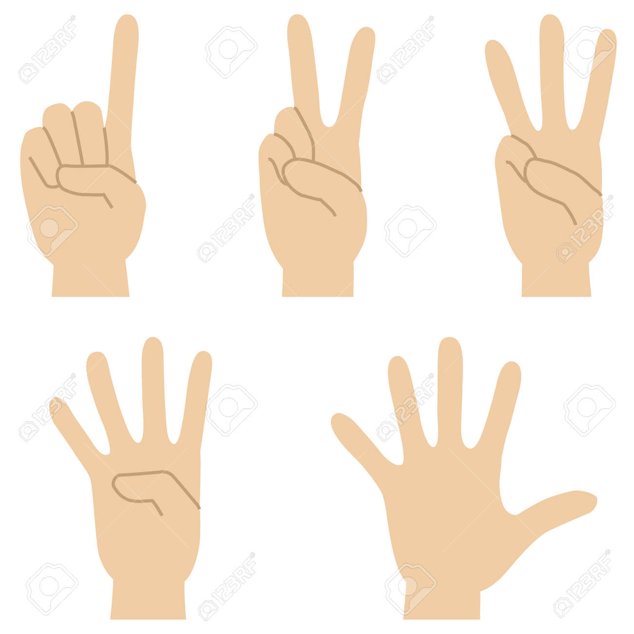 Set of illustrations of hand signs expressing the numbers 1 to 5 - 154457543