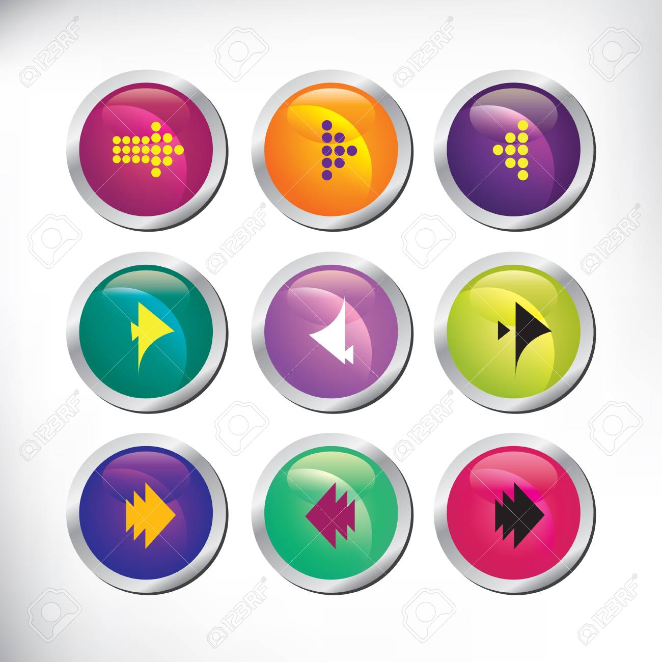 Set of color arrow buttons Stock Vector - 21924528