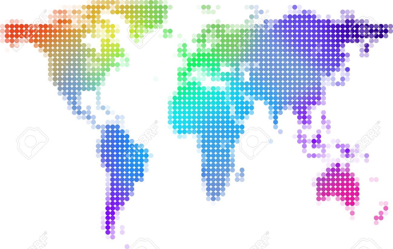 世界地図背景イラスト , カラフルなドット 写真素材 , 8366747