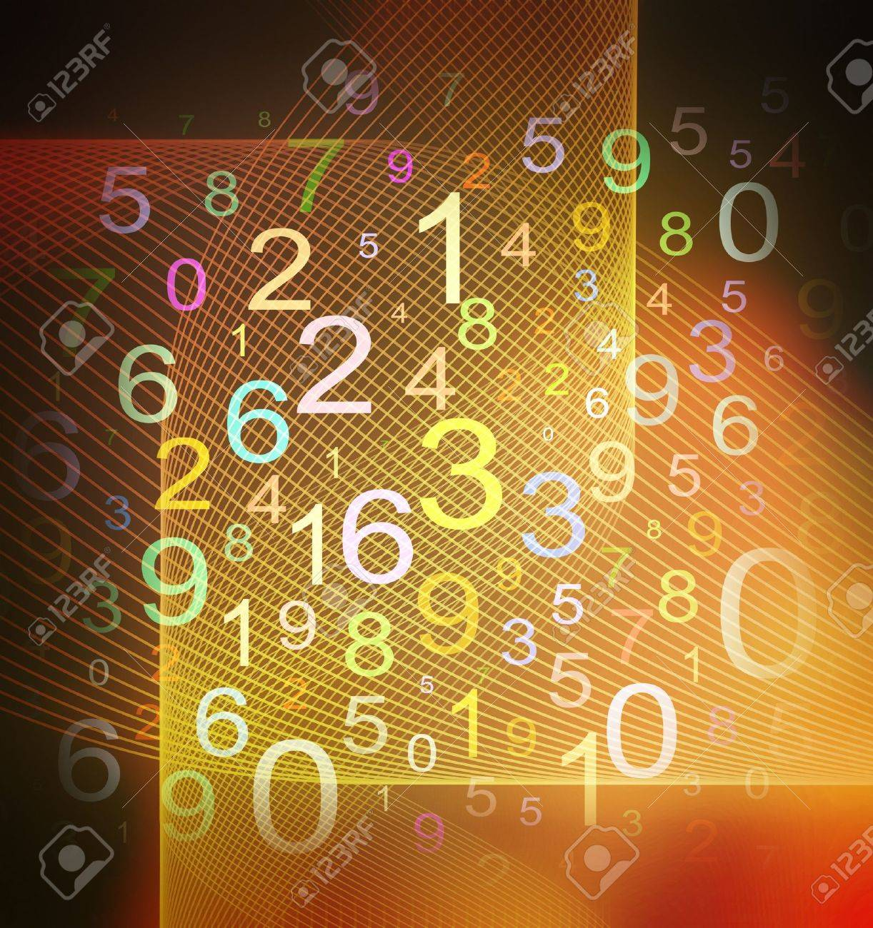 colorful numbers on grid textured background Stock Photo - 9633526