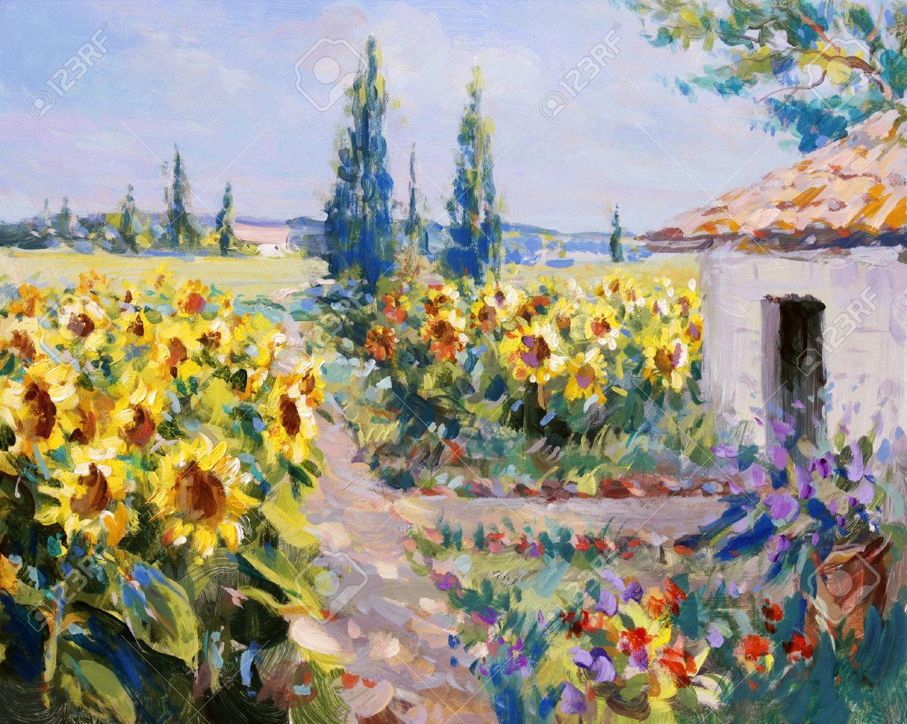 Landschaftsmalerei impressionismus  Sommer Landschaft Malerei - Acrylfarben Auf Hartfaserplatte ...
