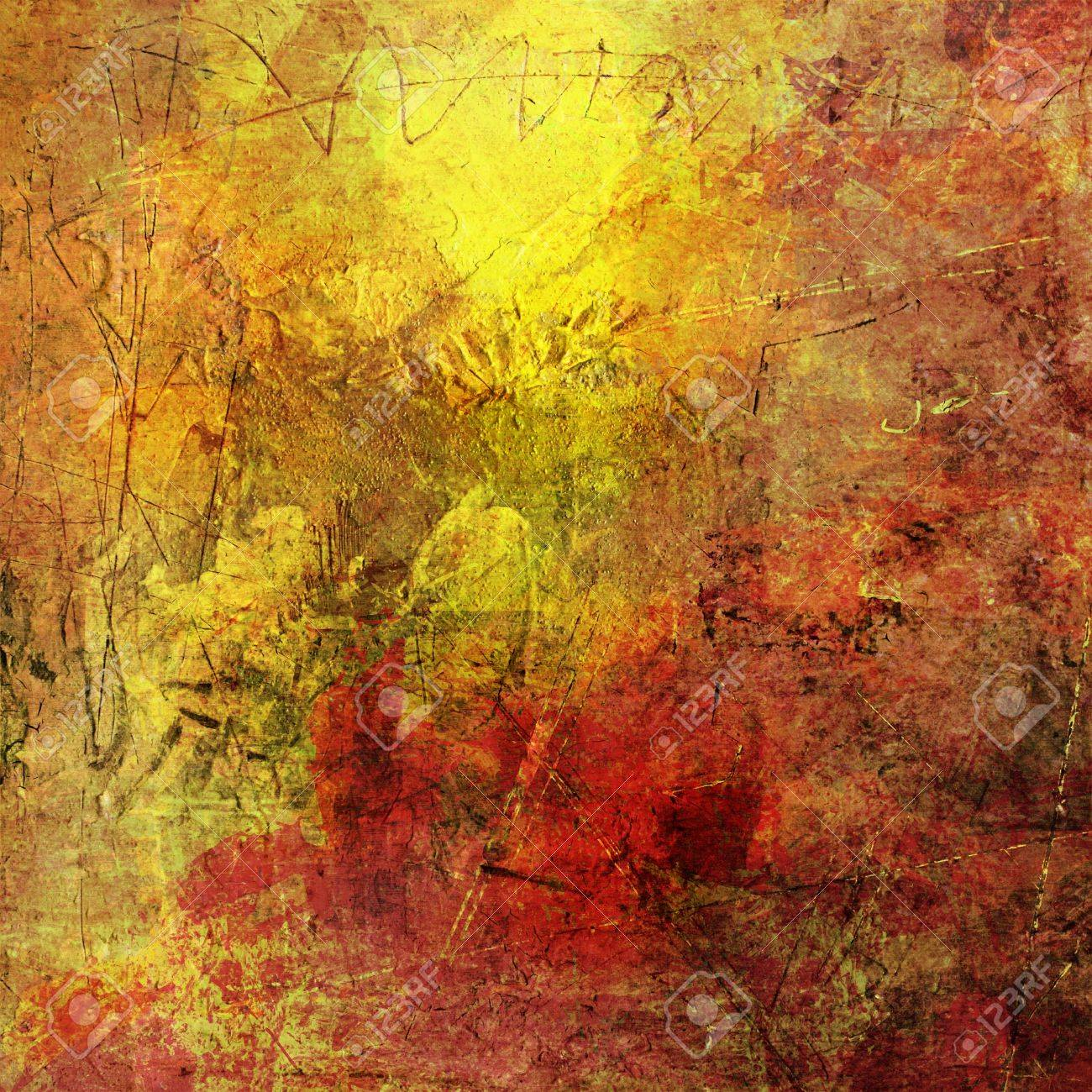 Painted Background With Different Textures Added Stock Photo