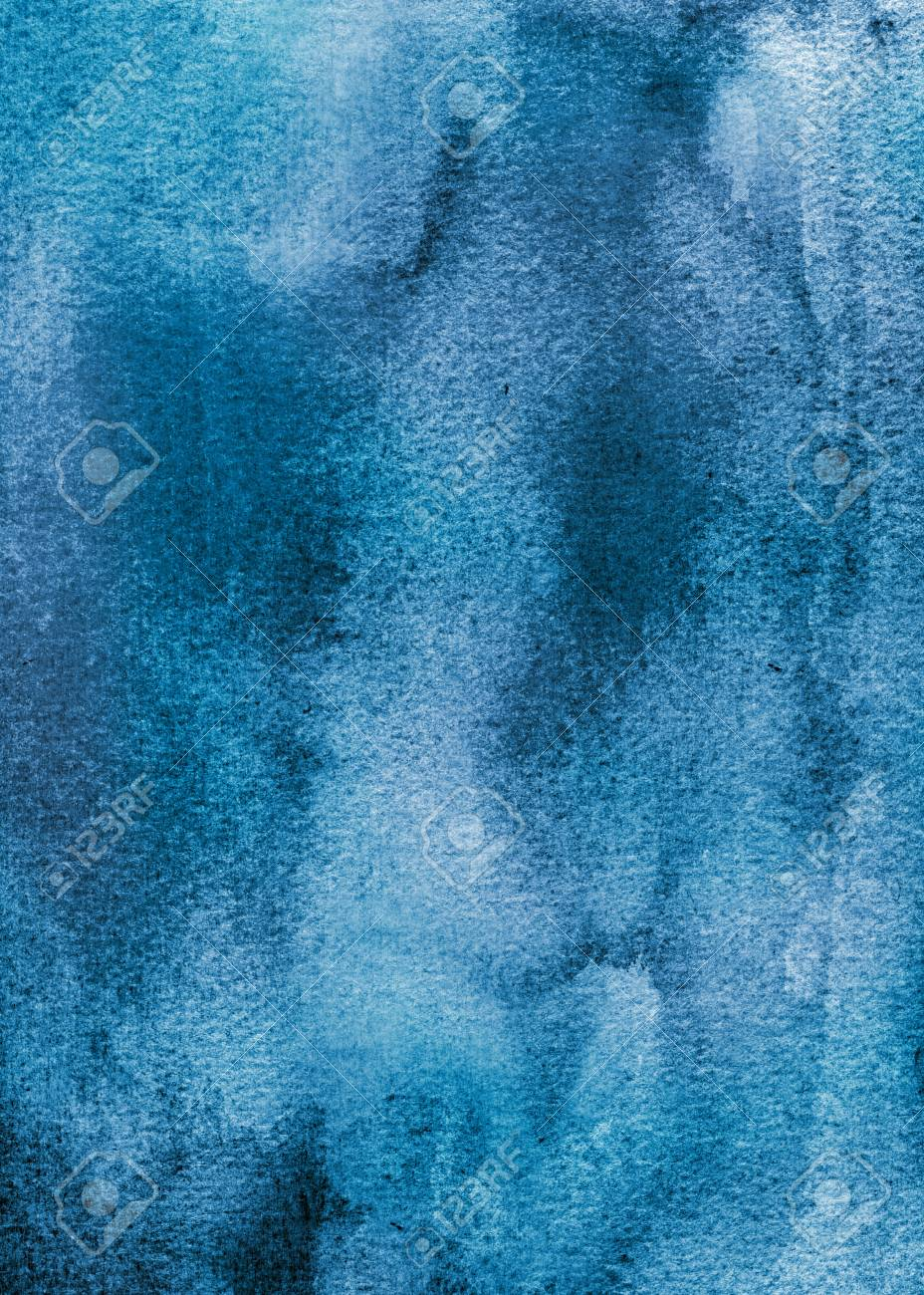 Abstract Light Blue And Dark Watercolor Background Stock Photo