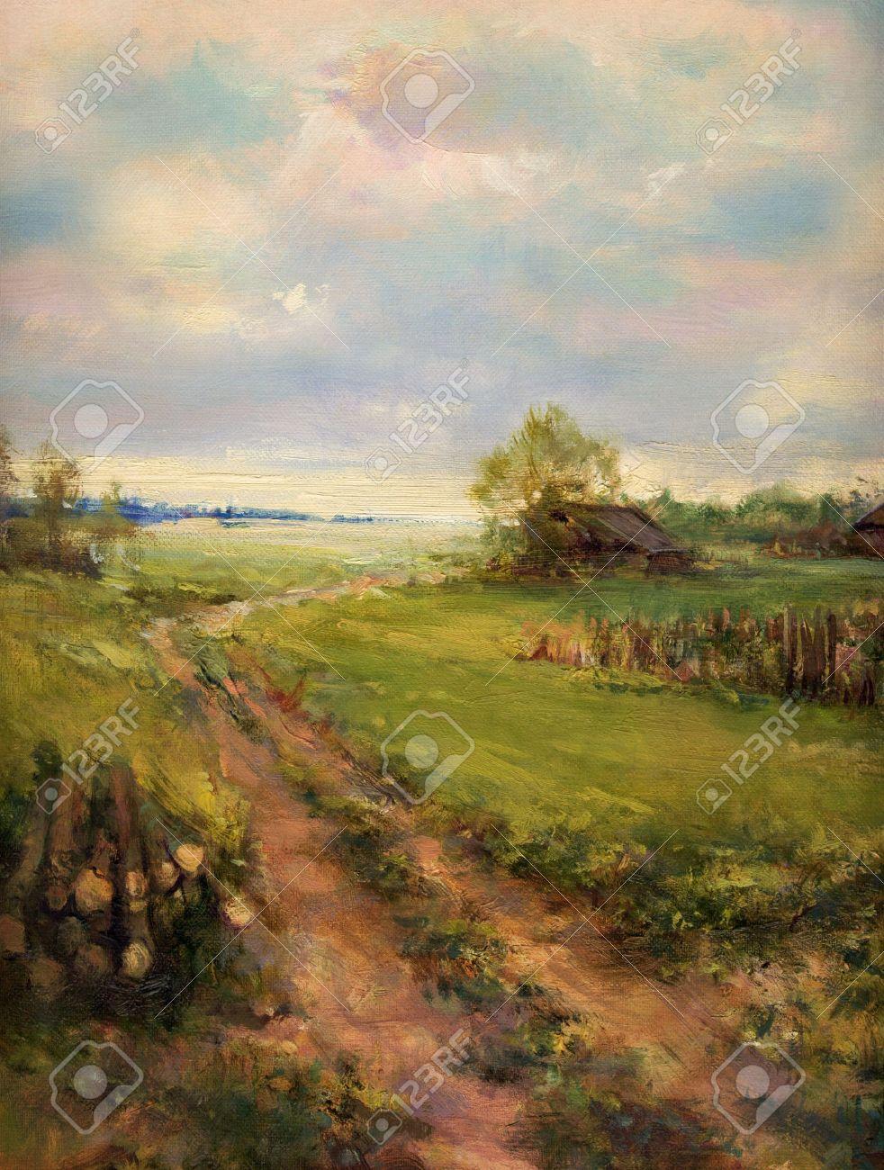 Rurale Retrò Pittura Di Paesaggio Scena - Dipinto Ad Olio Su Tela ...