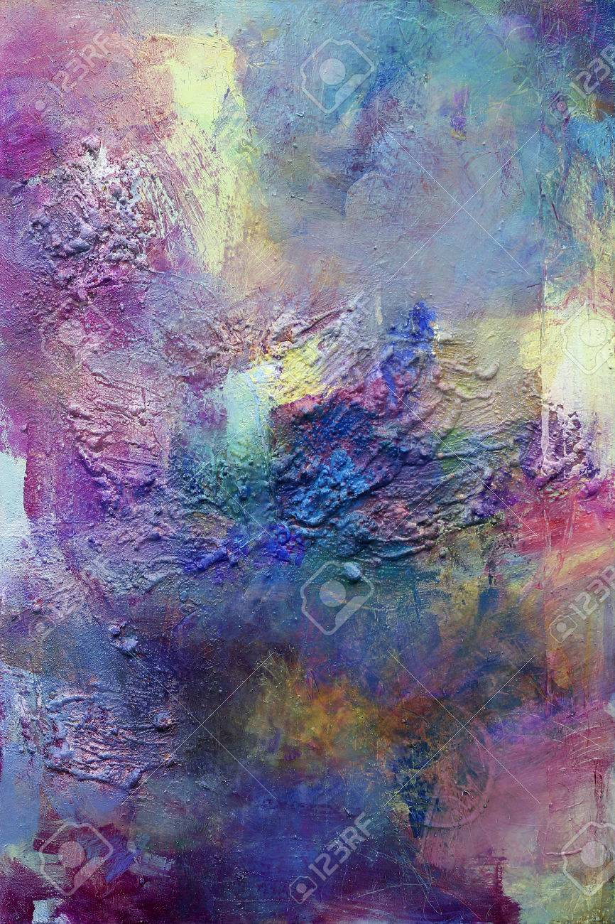 Hand Painted On Canvas In Different Colors And Textures Stock Photo