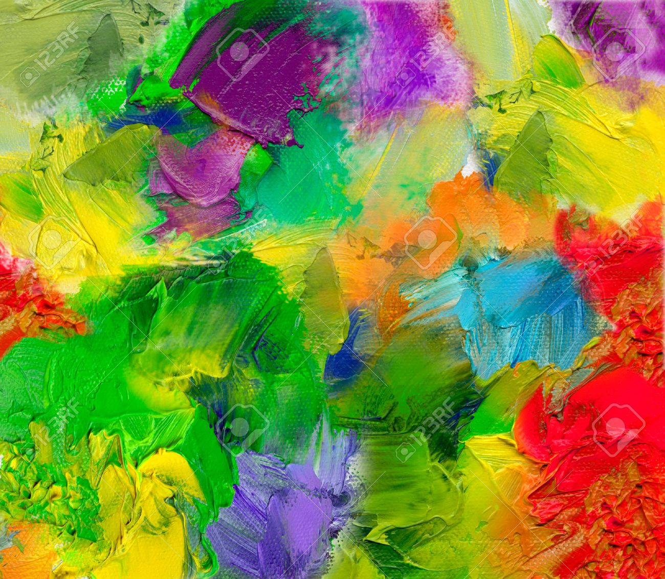 Multicolor Oil Paint Textures On Canvas Structure Stock Photo