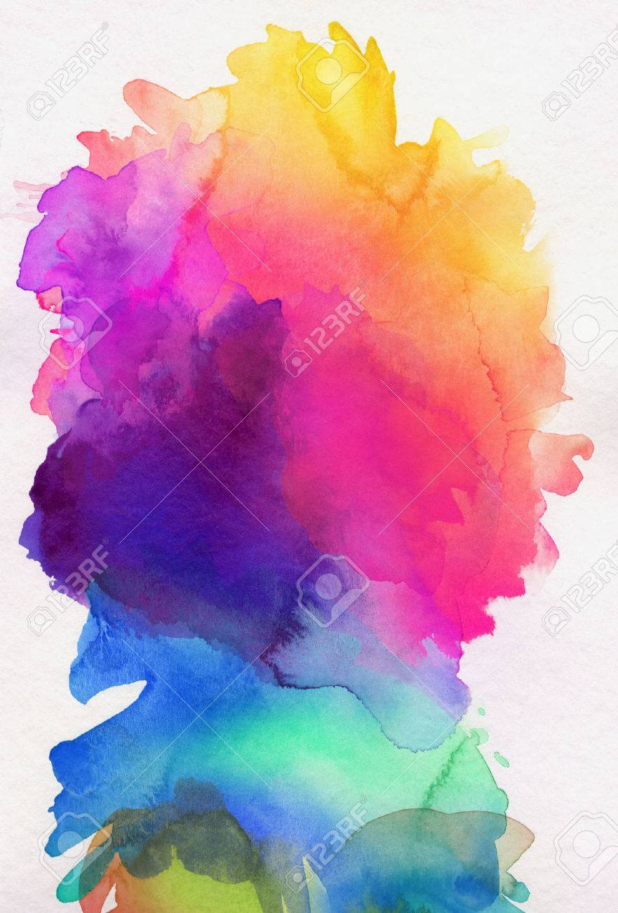 bright rainbow colored watercolor paints on white paper - 54547954