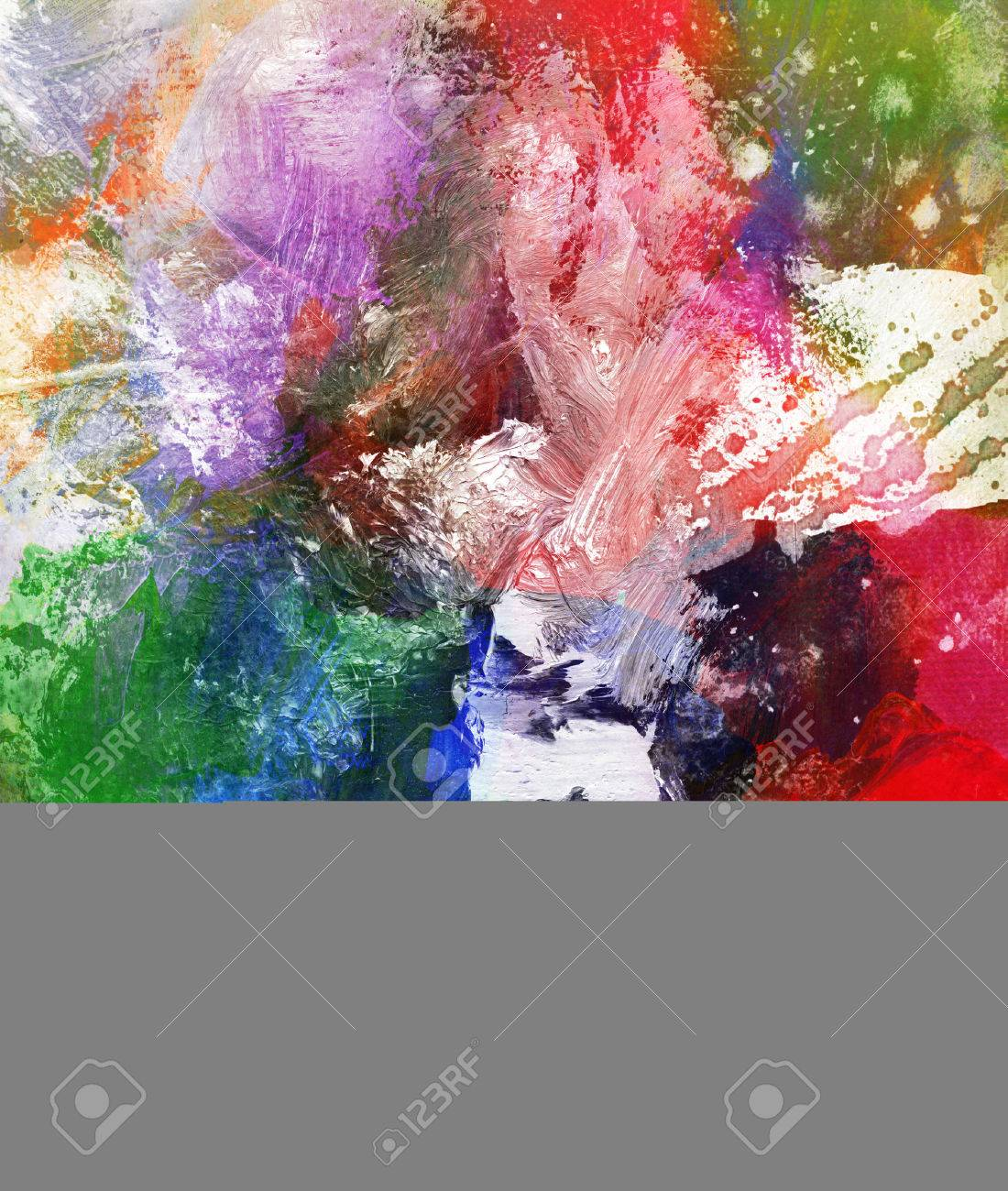 abstract colorful painting with blots and splatter textures Stock Photo - 54414390