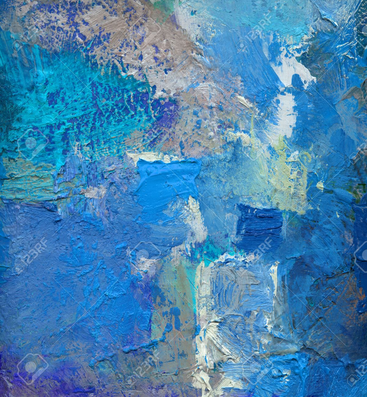 abstract blue colored layer artwork, opaque and transparent oil paint textures on canvas - 62340671