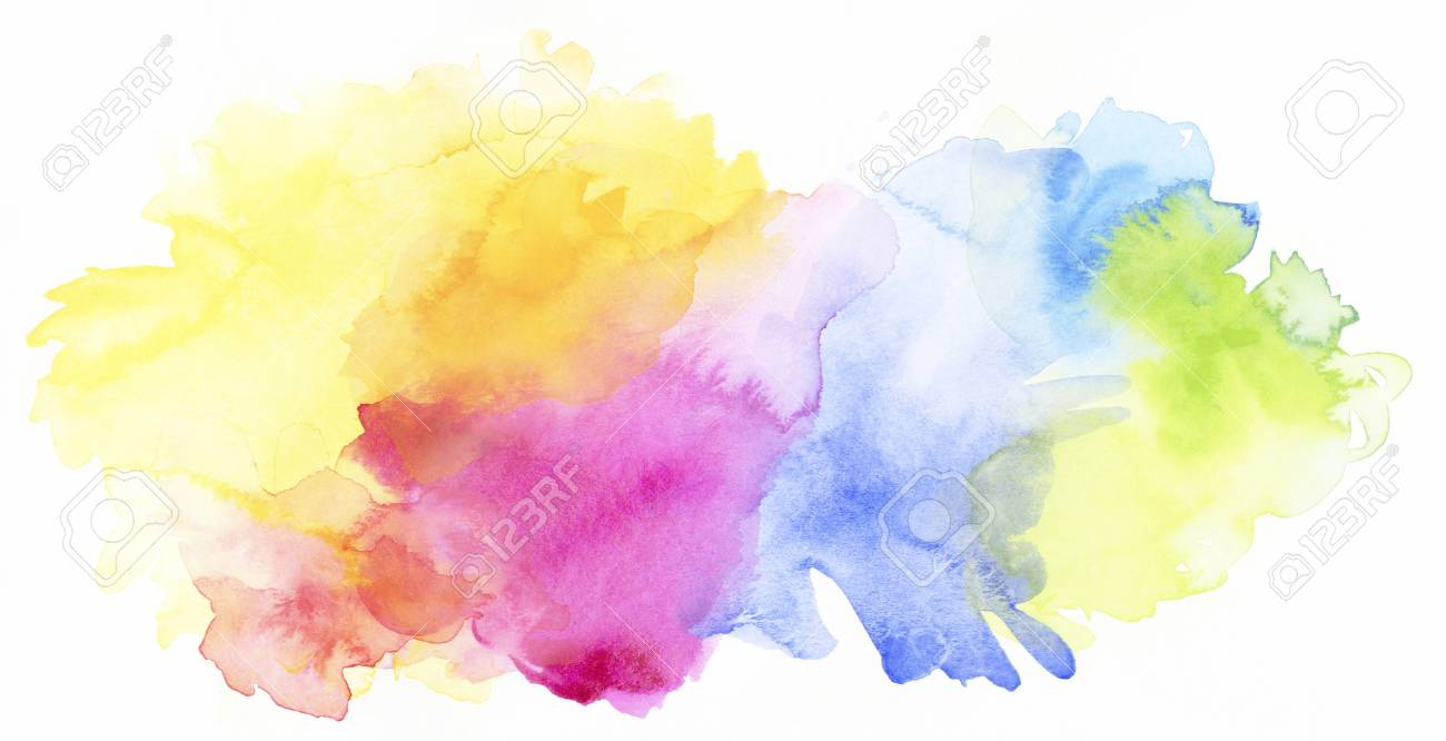 Bright Pastel Rainbow Colored Watercolor Paints And Different Colorful Textures Combined On White Background Stock Photo
