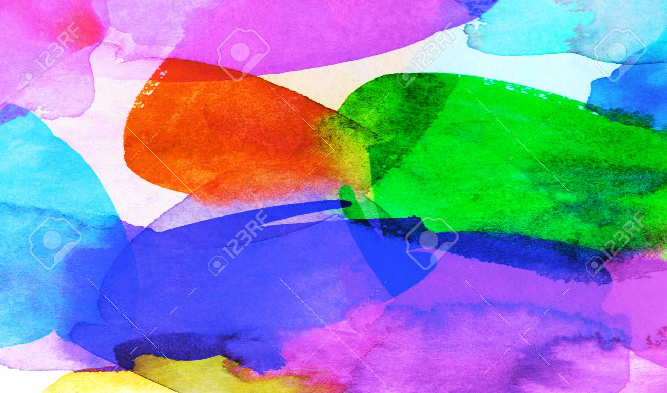 Abstract Bright Watercolor And Gouache Paint Shapes In Different