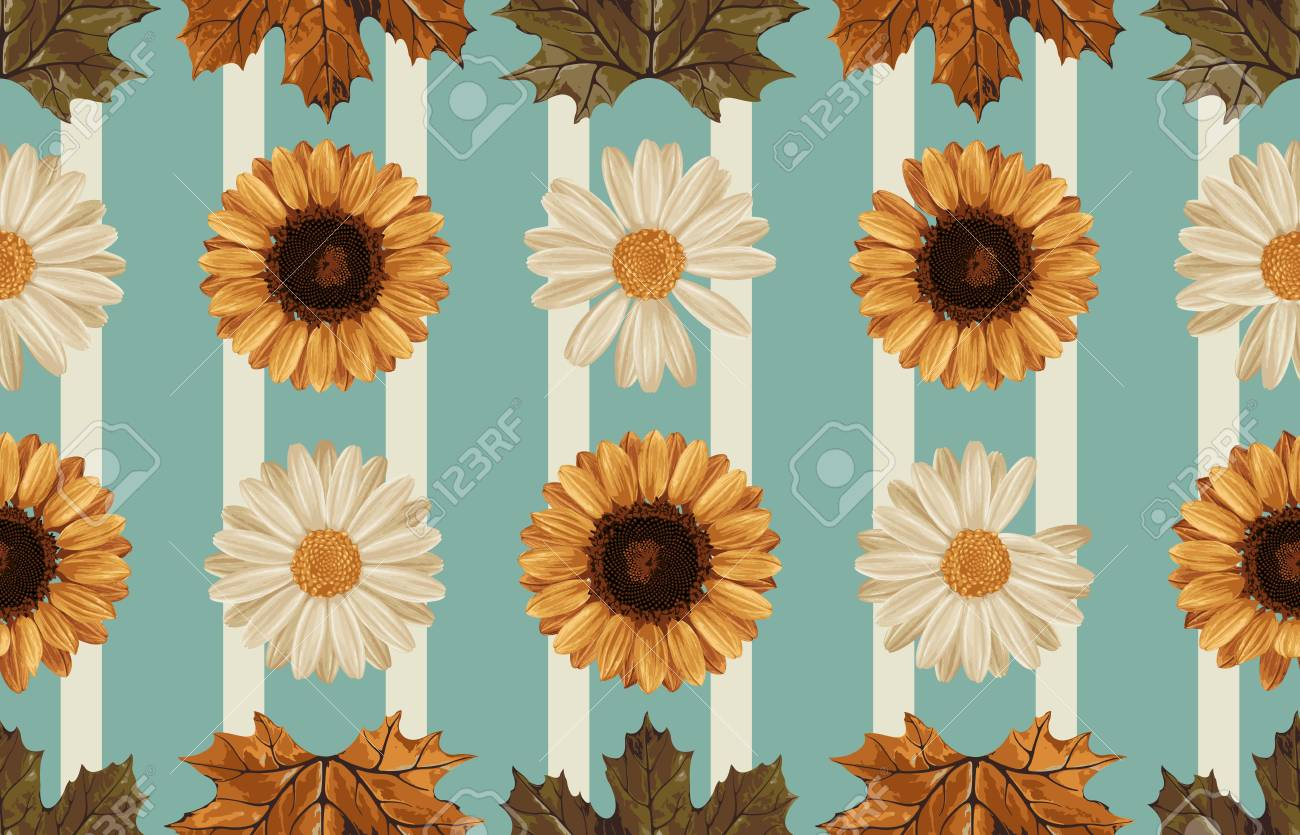 111757335 vintage seamless autumn pattern background with sunflower daisies and leaves botanical wallpaper ras