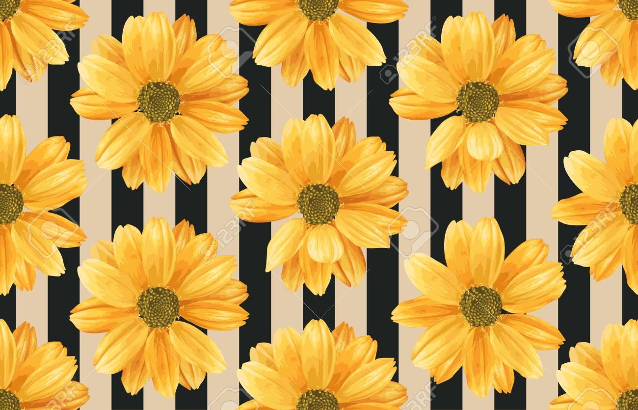 Vintage Seamless Autumn Pattern Background With Chrysanthemum