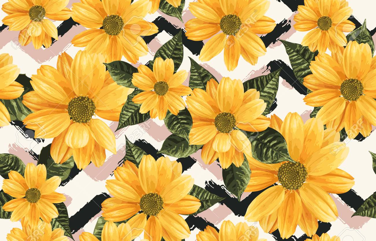 Printable Seamless Vintage Repeat Pattern Background With Yellow