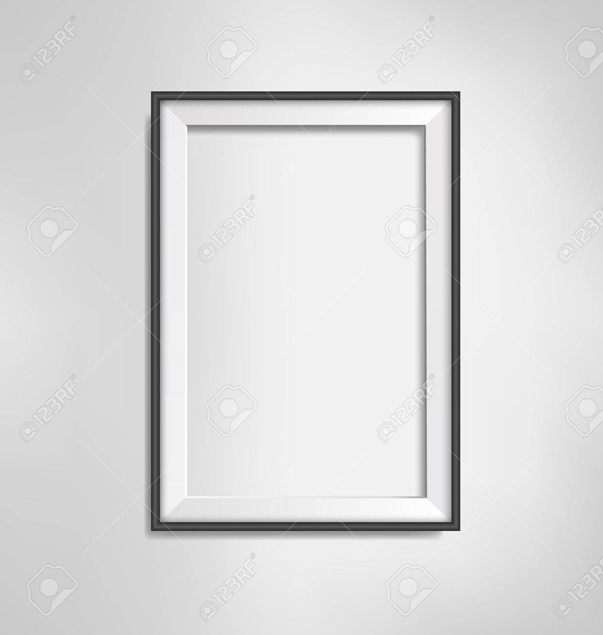Black Simple Modern Blank Frame On Grayscale Background Royalty Free ...