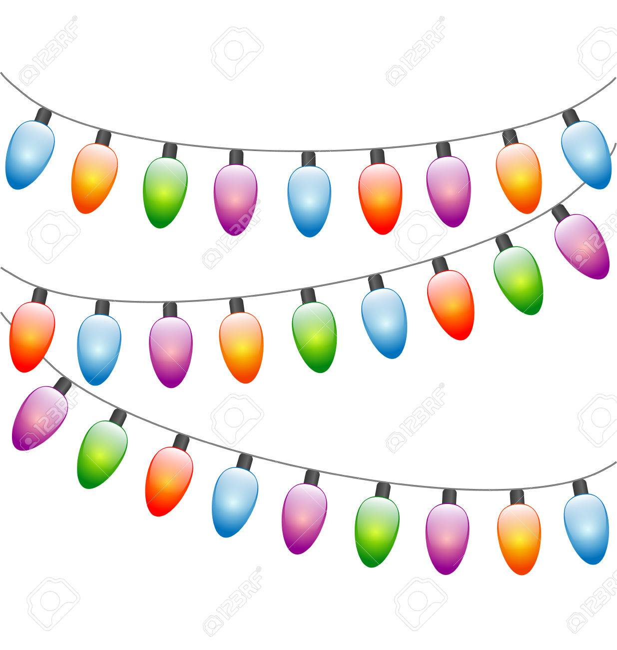 Multicolored Led Christmas Lights Garlands Isolated On White ...