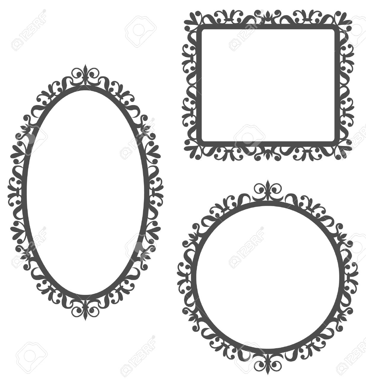 Three Black Vintage Frames In Different Shapes Isolated On White Background Stock Vector