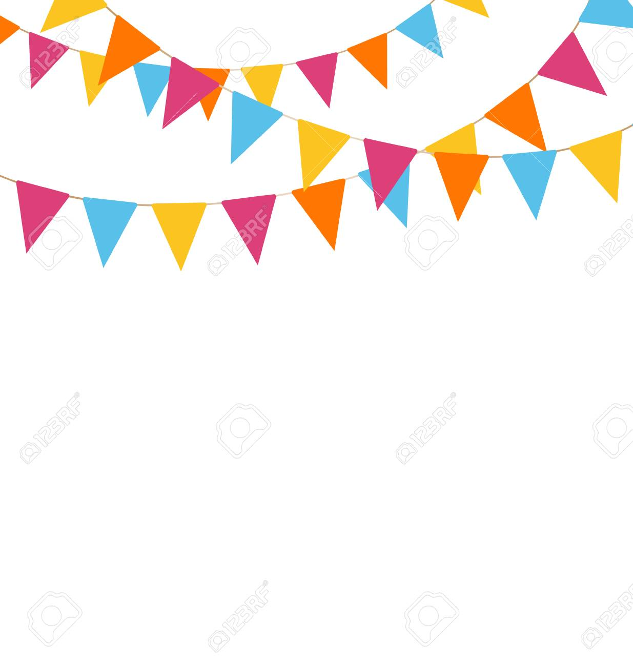 Multicolored bright buntings garlands isolated on white background - 33955319