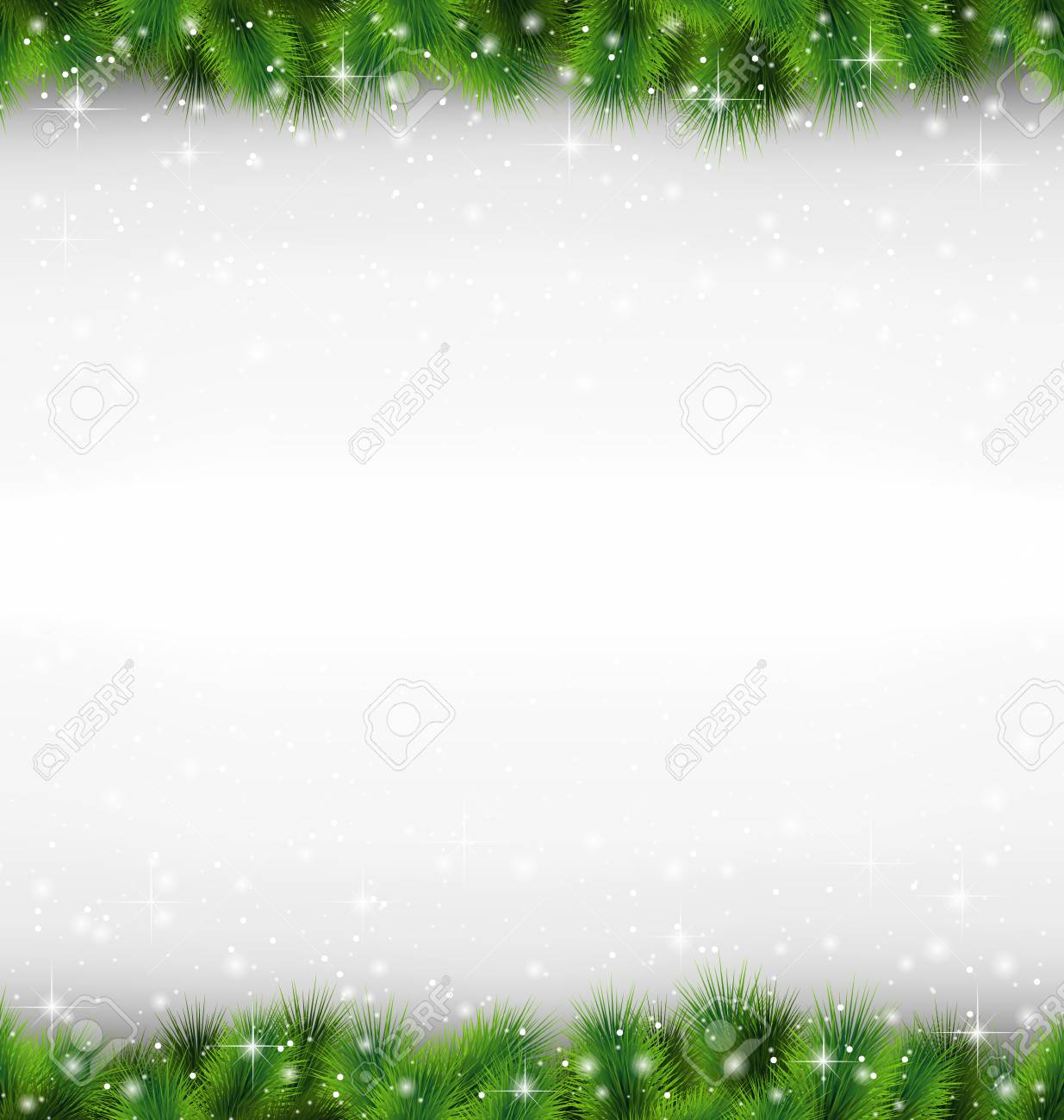 Shiny green pine branches like frame in snowfall on grayscale background - 33955389