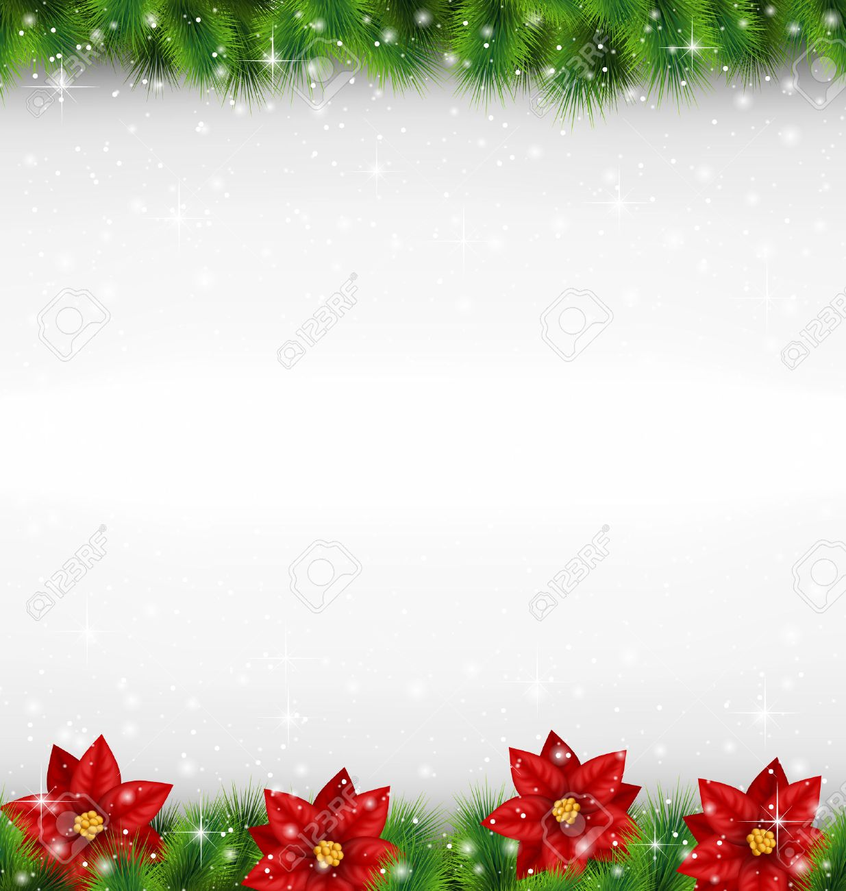 Shiny green pine branches like frame with flower of poinsettia in snowfall on grayscale background - 33955390