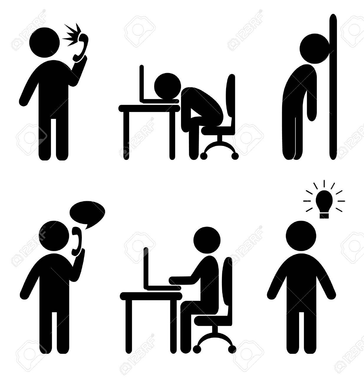 Set of business office situation flat icons isolated on white background - 33955467