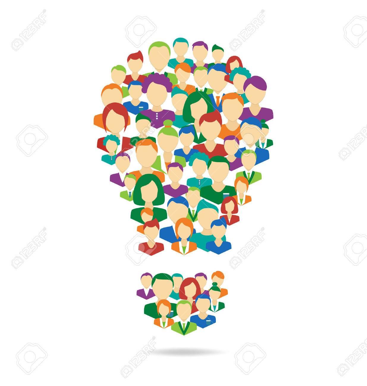 Flat Idea lamp symbolize crowdsourcing process isolated on white background - 33955472