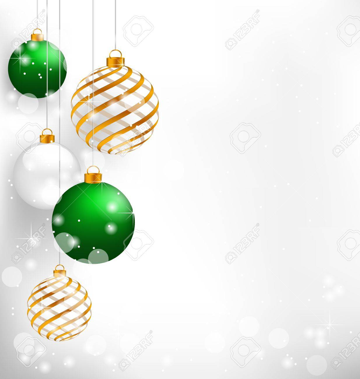 Green spiral christmas balls hang on white background - 34247094