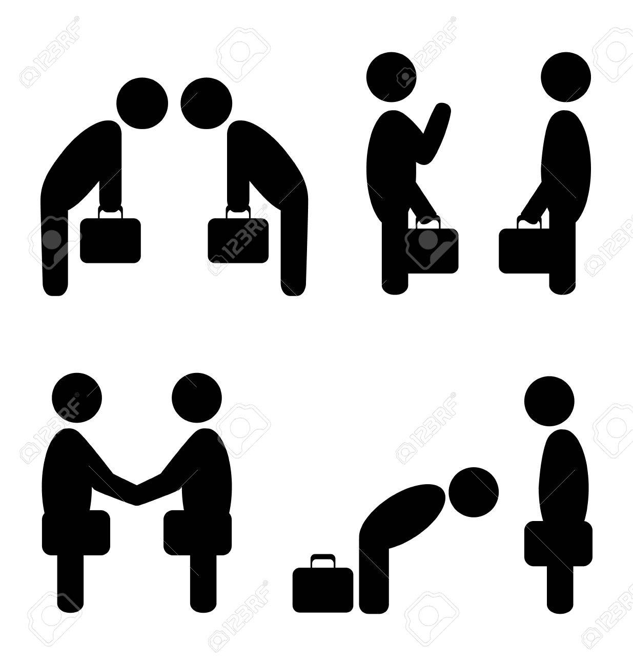 Set of greeting etiquette business situation icons isolated on set of greeting etiquette business situation icons isolated on white stock photo 34247714 m4hsunfo