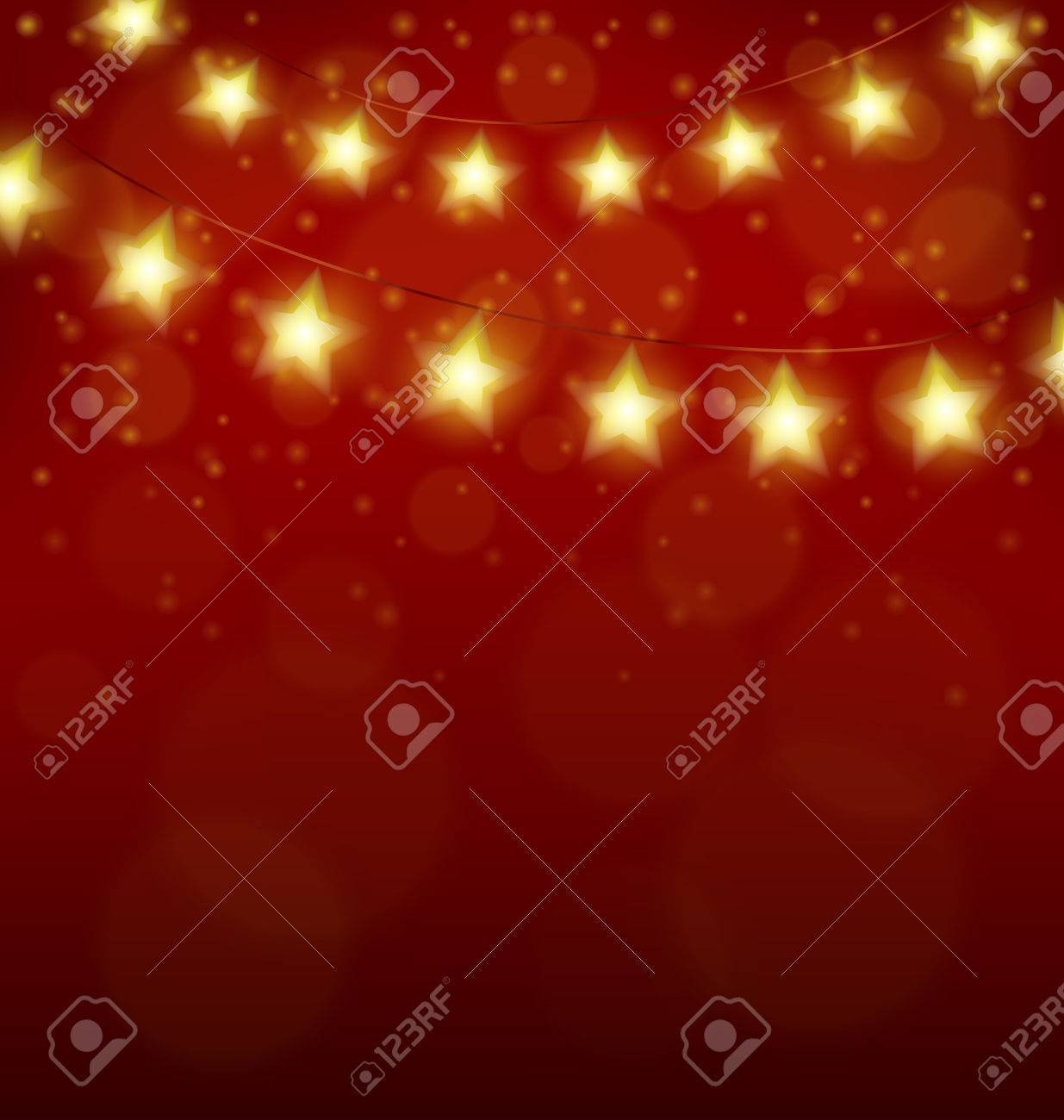 golden led christmas lights in form of stars on red background stock vector 34824606