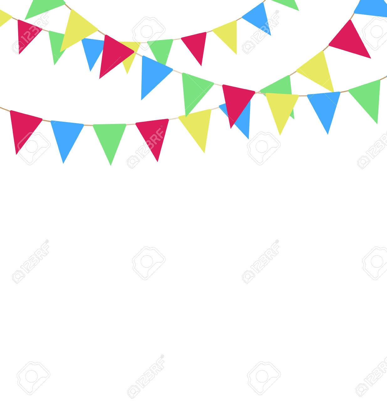 Multicolored bright buntings garlands isolated on white background - 34824635