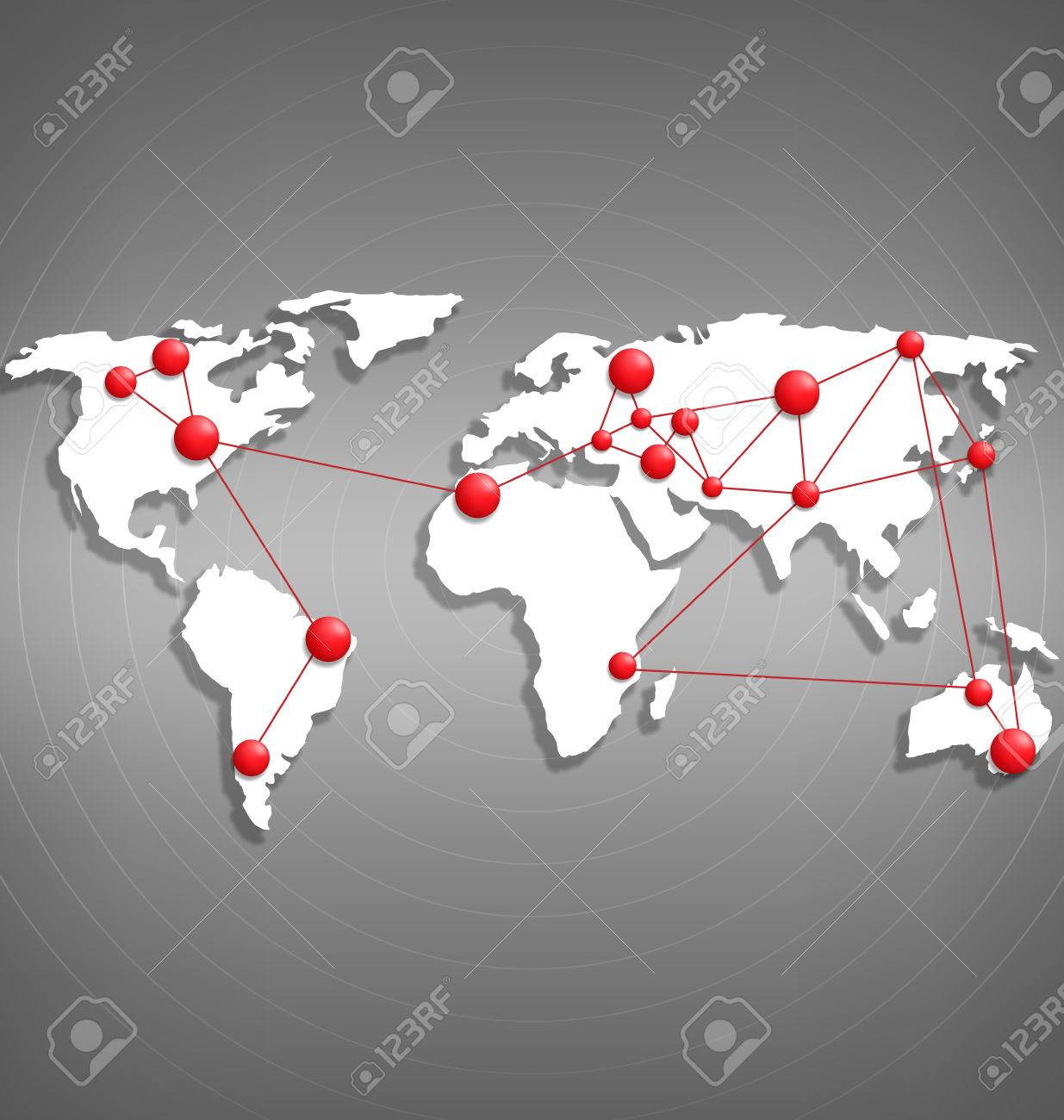 World map with red point marks on grayscale background - 35703419