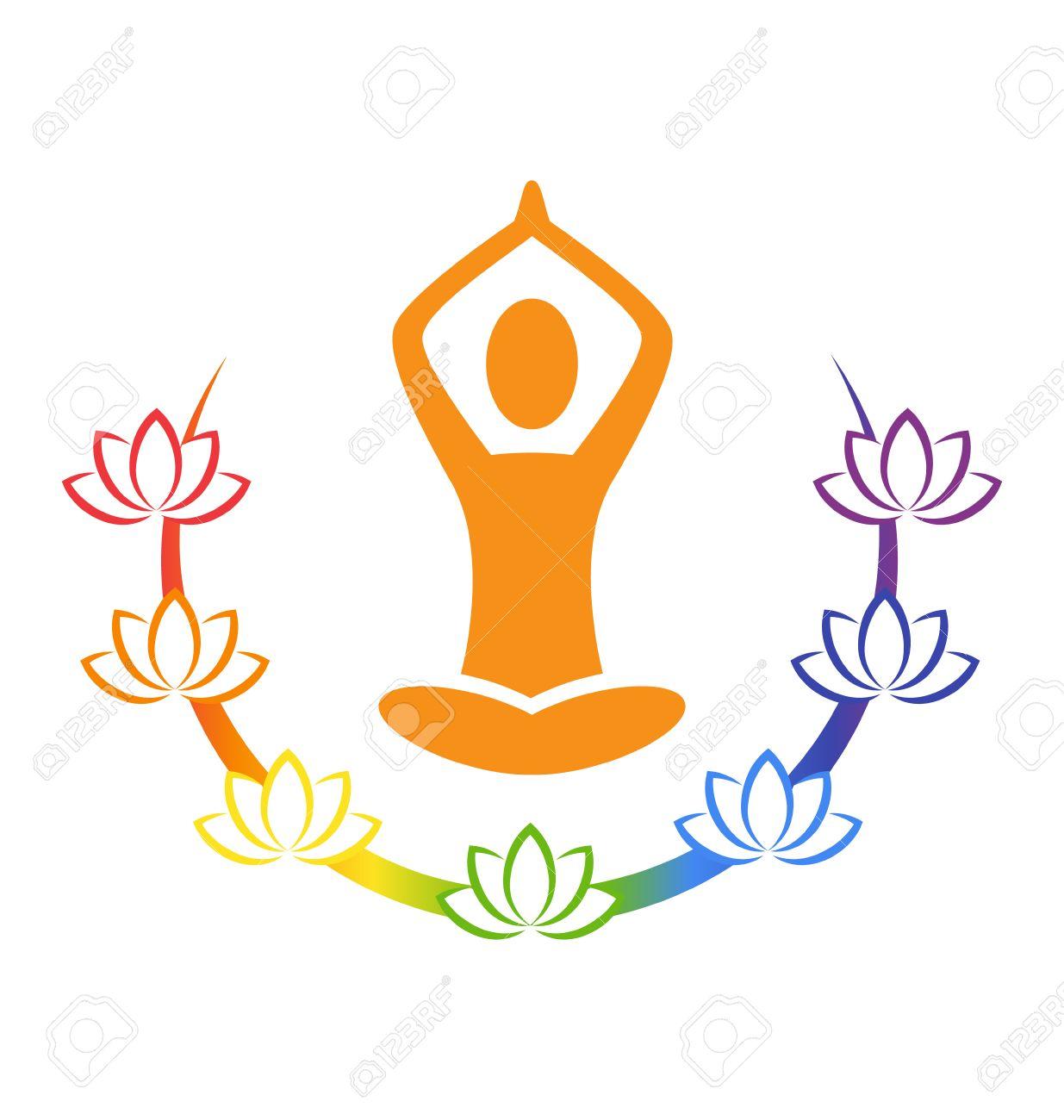 Emblem Yoga pose with chakra lotuses isolated on white background - 37482420