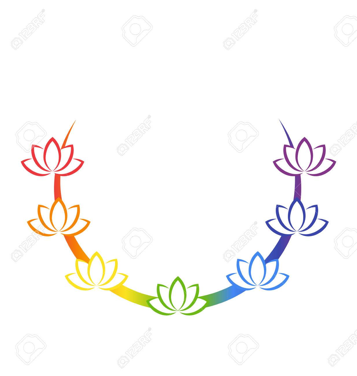 Yoga emblem with abstract chakra lotuses isolated on white background - 37832972