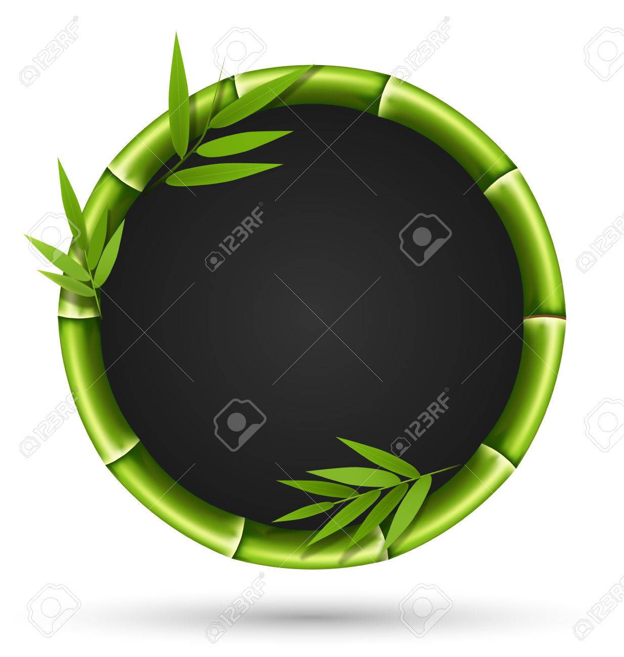 Green bamboo circle frame isolated on white background - 38424761