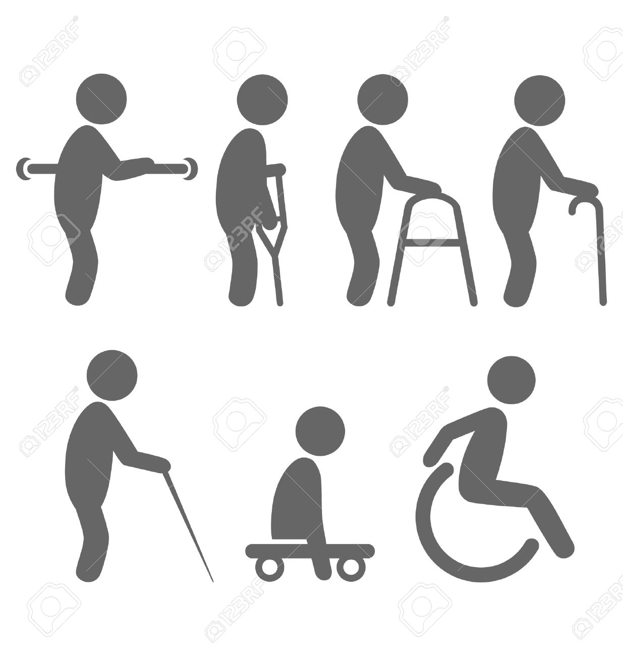 Disability people pictograms flat icons isolated on white background - 38424894